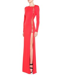 Emilio Pucci High Slit Long Sleeve Gown With Grommets Strawberry