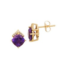 Lord And Taylor 14K Yellow Gold Amethyst Diamond Stud Earrings 0.03 Tcw Purple