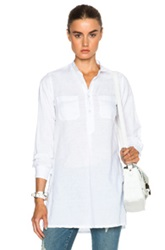 Engineered Garments Cotton Linen Banded Collar Shirt Dress In White