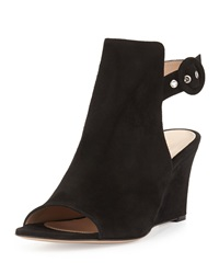 Gianvito Rossi Suede Peep Toe Ankle Wrap Wedge Black