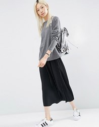 Asos Pleated Midi Skirt In Jersey Black Brown