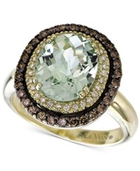 Le Vian Chocolatier Green Amethyst 2 3 4 Ct. T.W. And Diamond 1 2 Ct. T.W. Ring In 14K Green Gold Yellow Gold