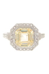 Judith Ripka Pave Trim Asscher Canary Crystal Ring Yellow
