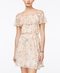Sequin Hearts Juniors' Floral Print Off The Shoulder Dress Peach