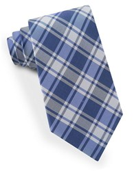 Lord And Taylor Plaid Silk Tie Blue