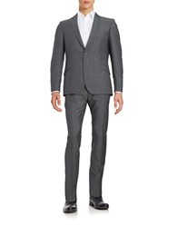 Strellson Virgin Wool Button Front Suit Set Mid Grey