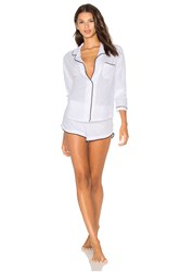 Only Hearts Club Organic Cotton With Piping Long Sleeve Shorty Pj Set White