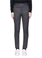 Neil Barrett Skinny Fit Glen Plaid Virgin Wool Blend Pants Grey Multi Colour