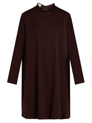 Raey Stand Collar Crepe Trapeze Dress Burgundy