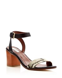 Cole Haan Cambon Mid Heel Ankle Strap Sandals Black