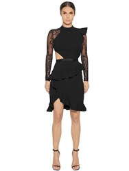 Self Portrait Ophelia Long Sleeve Lace And Jersey Dress