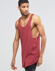 Religion Loose Fitting Tank In Longline With Curved Hem Red