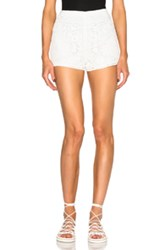 Chloe Chloe Crochet Embroidered Flower Shorts In White
