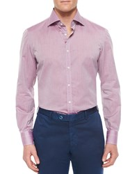 Isaia Solid Riva Woven Shirt Purple