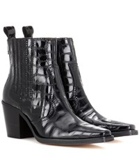 Ganni Dahlia Embossed Leather Ankle Boots Black