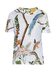 Gucci Birds Flying Print Linen Jersey T Shirt Blue Multi