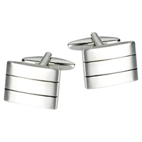John Lewis Triple Striped Brushed Steel Cufflinks Silver