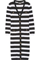 Boutique Moschino Striped Open Knit Cotton Cardigan