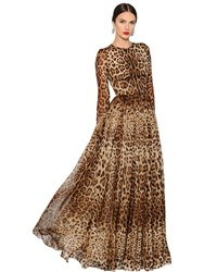 Dolce And Gabbana Leopard Printed Silk Chiffon Dress