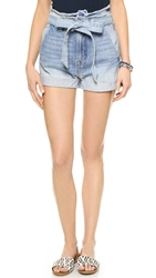 7 For All Mankind Paper Bag Waist Shorts Aura Blue Heritage