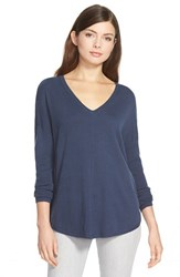 Trouve Women's Trouve 'Everyday' V Neck Sweater Navy Indigo