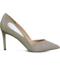 Office Freak Out Suede Court Shoes Grey Suede Patent