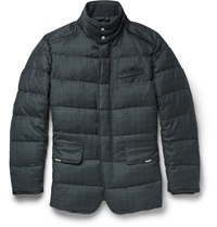 Brioni Quilted Check Wool Coat Black
