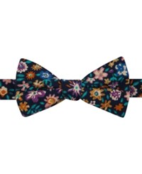 Tommy Hilfiger Men's Billy Floral Print Pre Tied Bow Tie Navy