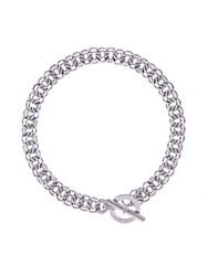 Karen Millen Silver Encrusted Bar And Hoop Necklace