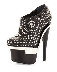 Studded Leather Platform Bootie Black Versace