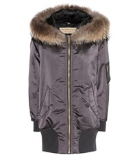 Burberry Avonshire Satin Parka With Fur Grey