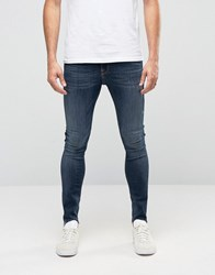 New Look Super Skinny Jean In Rinse Wash With Abrasions And Frayed Hem Rinse Wash Blue