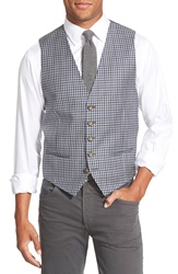 Nordstrom Check Wool Vest Blue Grey Check