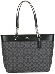 Coach Geometric Pattern Shoulder Bag Grey