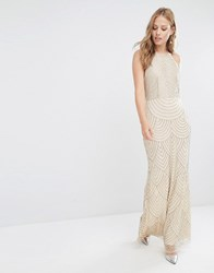 Maya High Neck Maxi Dress With Art Deco Embellishment Nude Pink