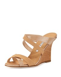 Manolo Blahnik Linen And Patent Crisscross Wedge Nude Women's