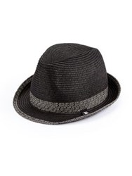 Block Headwear Solid Multi Band Braided Straw Fedora Black