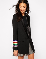 Sister Jane Rainbow Orchestra Jacket With Ribbon Sleeves Black