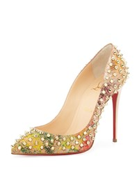 Christian Louboutin Follies Spiked Cork Red Sole Pump Multicolor Women's Multi Colors