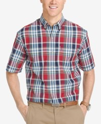 Izod Men's Plaid Short Sleeve Shirt Medium Red Multi