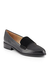 Saks Fifth Avenue Lorenna Mixed Media Point Toe Loafers Black