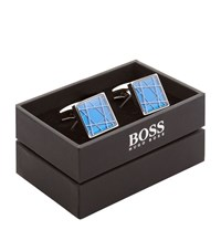 Boss Graphic Square Cufflinks Unisex Blue