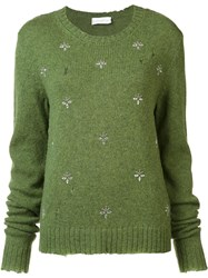 Faith Connexion Floral Embellished Pullover Green