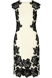 Lela Rose Guipure Lace Trimmed Stretch Crepe Dress White