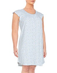 Karen Neuburger Plus Floral Nightgown Ditsy Blue