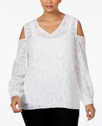 Alfani Plus Size Jacquard Cold Shoulder Blouse Only At Macy's Bright White