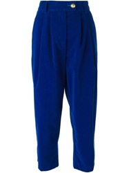Forte Forte High Waist Pleated Cropped Trousers Blue