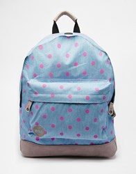 Mi Pac Backpack In Demin Chambray And All Over Polka Dot Blue
