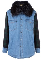 Forte Couture Checked Sleeves Denim Jacket Blue