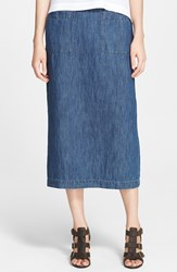 Eskandar Women's Cotton And Linen Denim Skirt